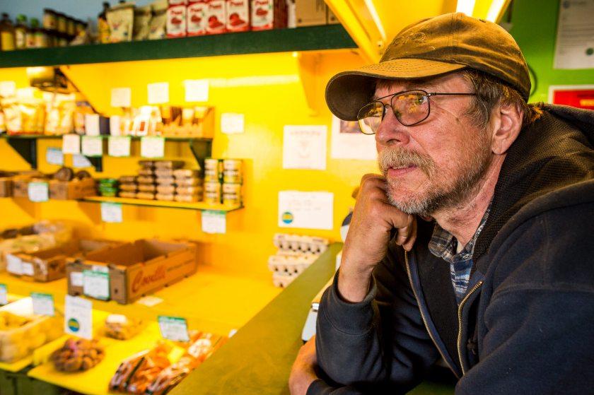 Tim Meyers inside his roadside market in Bethel. May 22, 2013 (Loren Holmes, Alaska Dispatch)