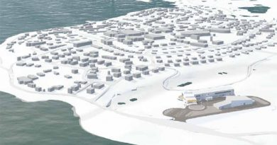 The CHARS site will be located on the outskirts of the community of Cambridge Bay, Nunavut. It will be one of the largest buildings in the territory. (FGMDA/NFOE Architects)
