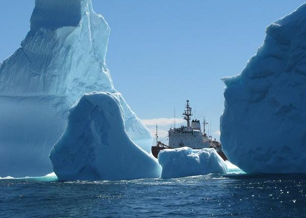 An iceberg cluster surrounds the Canadian Coast Guard Ship Ann Harvey on Saturday, June 8, 2013 about 60 nautical miles east of Makkovik, Labrador. The coast guard says the largest iceberg cluster it has seen in recent years is drifting south off Labrador near the Strait of Belle Isle. (Canadian Coast Guard / The Canadian Press)