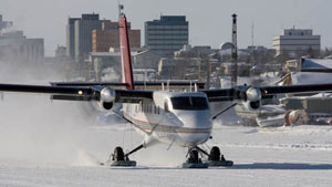 King Air's medevac planes are not able to land in Trout Lake, Nahanni Butte or Jean Marie River because their runways are not long enough. Instead, they must equip Twin Otter planes for those communities. (King Air / CBC)