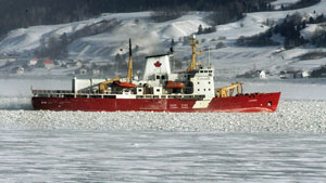 The Canadian Coast Guard icebreaker Amundsen in 2005. A helicopter operating with the vessel has crashed in the Canadian Arctic. (Jacques Boissinot/The Canadian Press)