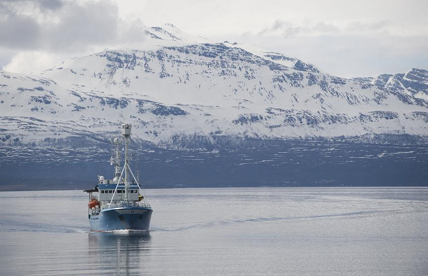 A boat off the coast of Tromso, Norway, the location of the Arctic Frontiers conference.  (Saul Loeb / AFP)