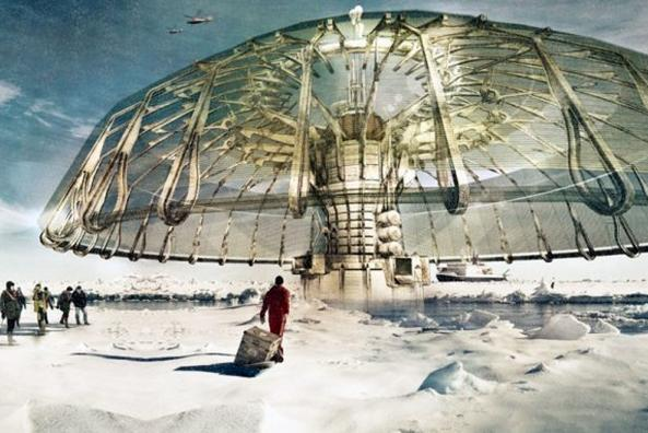 An American architect has won first place in a design journal's competition for a building plan that's intended to reverse the melting of Arctic ice caps. This summer, so far, the region's ice extant is declining at a near-average rate. (Derek Pirozzi design courtesy Evolo, Alaska Dispatch)