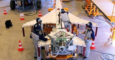 One of the test drones. (Alexander Linder / Sveriges Radio)