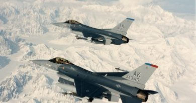 Two F-16 from Eielson Air Force Base near Fairbanks on a training flight. (National Air and Space Museum, Smithsonian Institution / Alaska Dispatch)