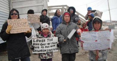 Protests over food prices took place in several communities across Nunavut in 2012. (CBC.ca)