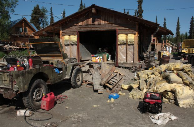 A cabin stripped of its insulation following the devastating flood in Galena, June 20, 2013. (Laurel Andrews / Alaska Dispatch)