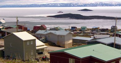 The Canadian Coast Guard icebreaker Henry Larsen arrived in the inner part of Frobisher Bay late Wednesday morning to make way for two vessels — a tanker and a cargo ship. (CBC)