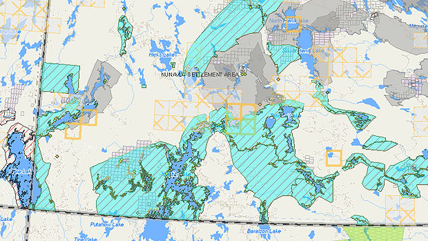 Some of the land parcels in question (in blue) border Manitoba and Saskatchewan. (Aboriginal Affairs and Northern Development Canada)