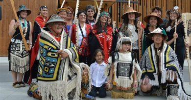 Traditionally woven robes worn during the recent Aboriginal Day celebration at the Kwanlin Dun Cultural Centre in Whitehorse, Yukon. (CBC)