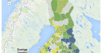 A map showing the proportion of Russian-speaking inhabitants in Finnish municipalities at the end of 2012. (Yle News / Google)