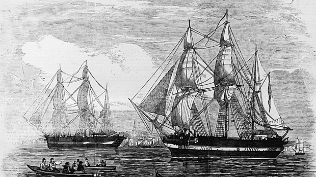 Searchers in the Canadian Arctic this summer will try again to find the lost vessels HMS Erebus and HMS Terror, shown in an illustration from the Illustrated London News published on May 24, 1845. (Illustrated London News/Getty Images)