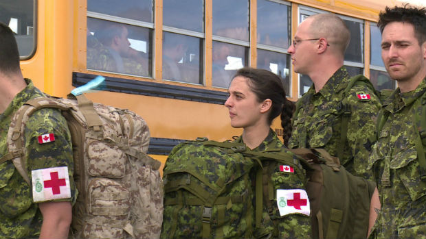200 soliders from Quebec arrived in Whitehorse on Sunday for Operation Nanook, an annual northern military exercise. (Dave Croft/CBC)