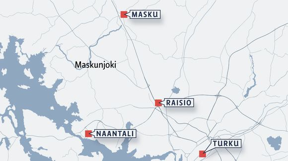 Following a sewage leak, the condition of the Maskunjoki River in Southwestern Finland is unknown. (Yle uutisgrafiikka)