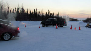A photo of the ice road blockade that happened in February of this year.
