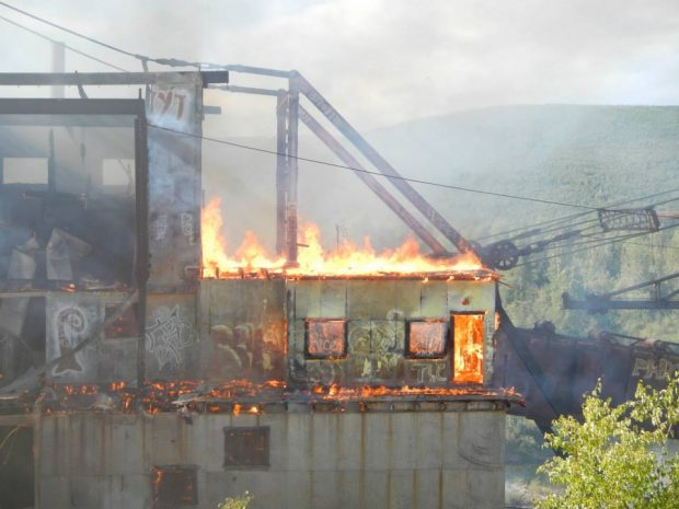 The historic Gold Dredge No. 3 caught fire on Saturday, Aug.3, 2013. Co-owners Jane Haigh and Patricia Peirsol bought the site in 1997 to preserve the dredge. (Courtesy Heather Moritz / Alaska Dispatch)