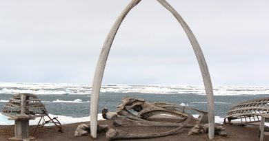 A whalebone arch sits on the Barrow, Alaska shoreline in 2012. ( Nicole Klauss/ Kodiak Daily Mirror/ AP)