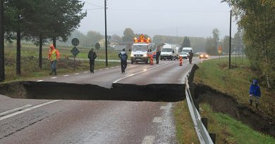 Torrential rain has forced several road closures in northern Sweden. (Ingrid Engstedt Edfast / Radio Sweden)