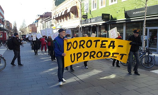 Protestors in the region of Dorotea  demanded a referendum last year after plans to cut their emergency care services. ( Swedish Radio)