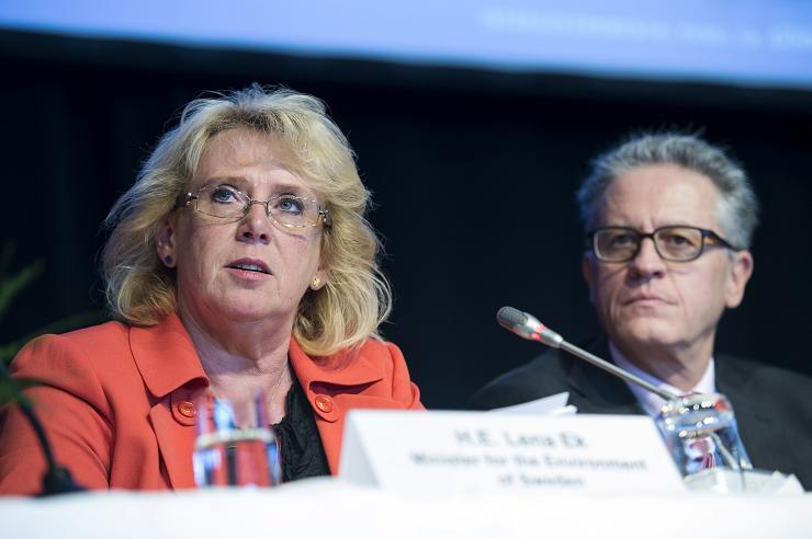 Swedish Environment Minister Lena Ek (L) at a meeting of the Intergovernmental Panel on Climate Change (IPCC) in Stockholm, Sweden on September 23, 2013 (BertilEnevag/Scanpix/AFP)
