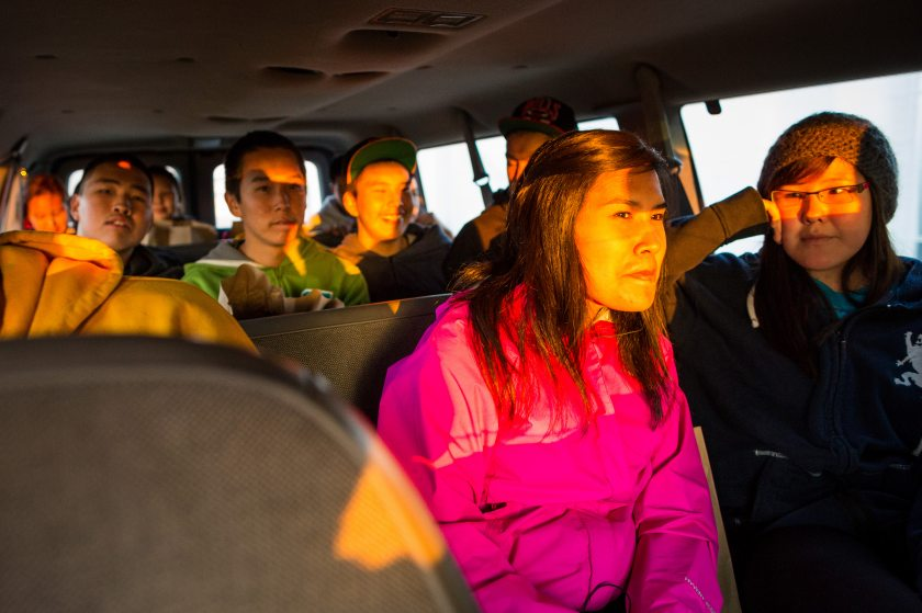 Students Ride Back To Their Dorms At The Galena Interior Learning Academy  (GILA) After A Trip To The Village Store.