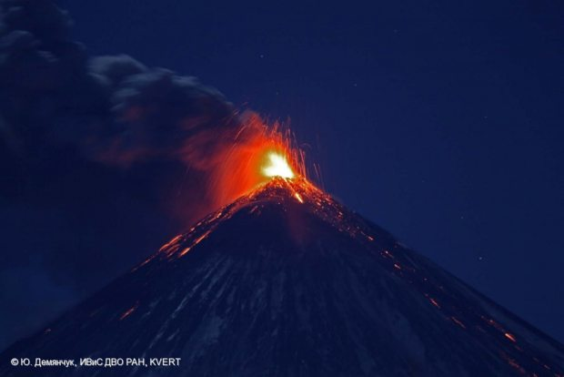 """The Kluchevskoy volcano on Oct. 19, 2013. All told, seven volcanoes were listed as """"active or restless"""" on Russia's Kamchatka Peninsula and Northern Kuriles Islands on Sunday. (Courtesy Demyanchuk Yu, IVS FEB RAS, KVERT / Alaska Dispatch)"""