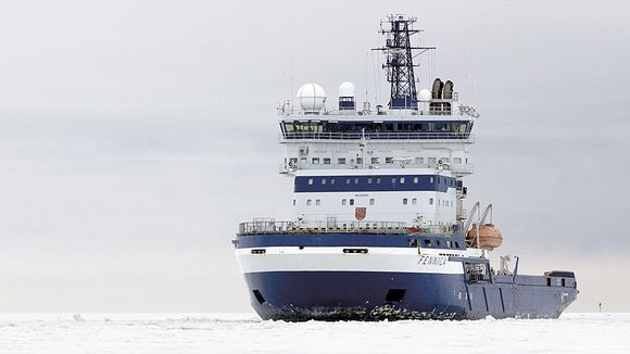 The Fennia icebreaker participated in ice clearing for Shell in the Arctic. (Arctia Shipping / Yle)