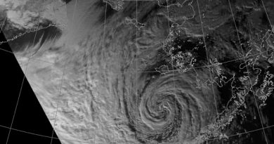 A strong extratropical cyclone has spread weather warnings around Southwest Alaska and the Bering Sea. NOAA satellite image