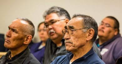 Fishermen and supporters listen to testimony during the fish trials of Yup'ik subsistence fishermen in Bethel in May of 2013. (Loren Holmes / Alaska Dispatch)