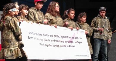 Young members of the Tanana 4-H Youth Group speak out against suicide at the 2013 AFN meeting in Fairbanks. Oct 22, 2013. (Dermot Cole / Alaska Dispatch)