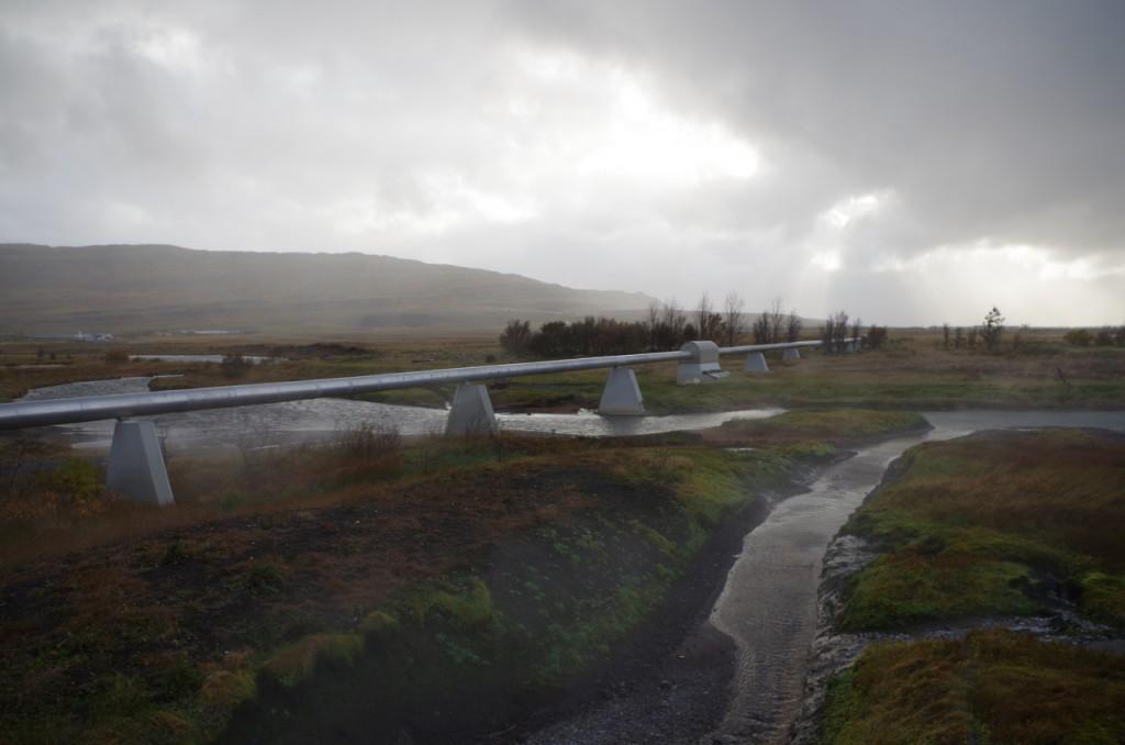 World's longest geothermal pipeline, in western Iceland. (Mia Bennett)