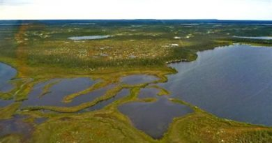 Hudson Bay Lowlands, a vast area of bogs, fens, lakes rivers. One of the last Arctic refugia, it too is showing dramatic changes due to warming which could have a dramatic effect on fish and wildlife, residents, and affect global climate (Kathleen Ruehland / Queen's University -PEARL)
