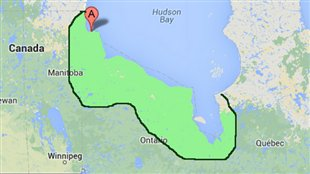 Red balloon indicates Churchill, Manitoba, well-known for its population of polar bears. Green area indicates approximate extent of lowlands. (Google)