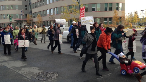 Several dozen people attended the event to protest fracking in Yellowknife (Alyssa Mosher/CBC)