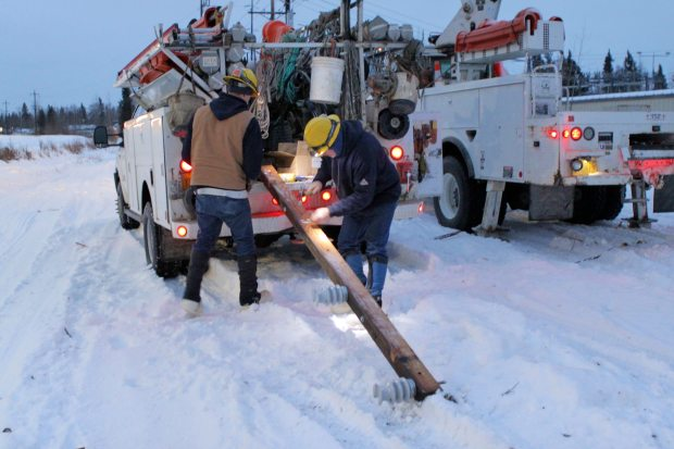 Every new electricity generator in Fairbanks had been sold by Thursday as utility crews struggled to restore power to thousands who'd been left in the dark, with temperatures falling toward zero, after an unusual windstorm that tore through Interior Alaska this week. (Courtesy Golden Valley Electric Association / Alaska Dispatch)