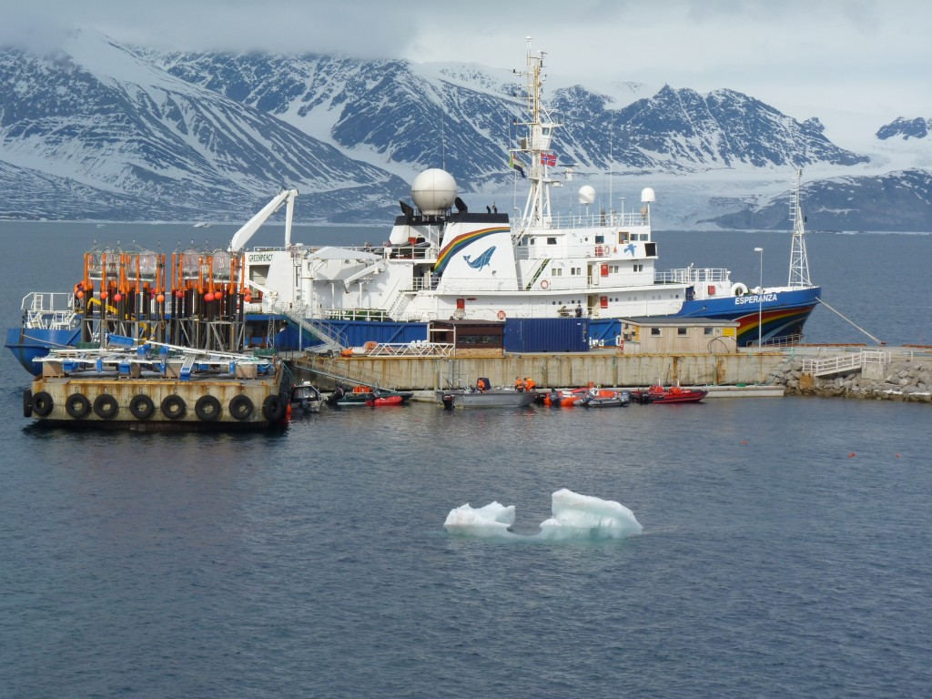 In 2010 I watched the start of the first in situ ocean acidification experiments off the coast at Ny Alesund, Spitsbergen, as part of the EU's EPOCA project. Mesocosms, or giant test-tubes, were being taken out to sea by the Greenpeace ship the Esperanza. (Irene Quaile)