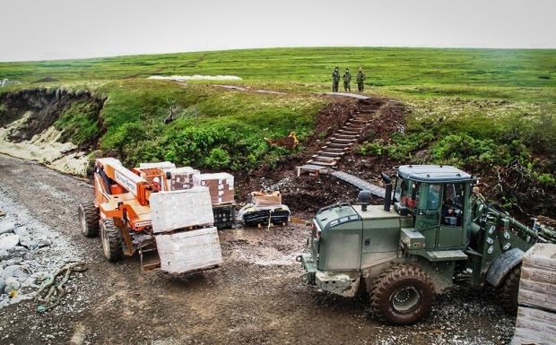 An Army Reserve crew off-loads in Mertarvik, where Newtok is moving to higher ground. Capt. Christopher Larsen / US Army