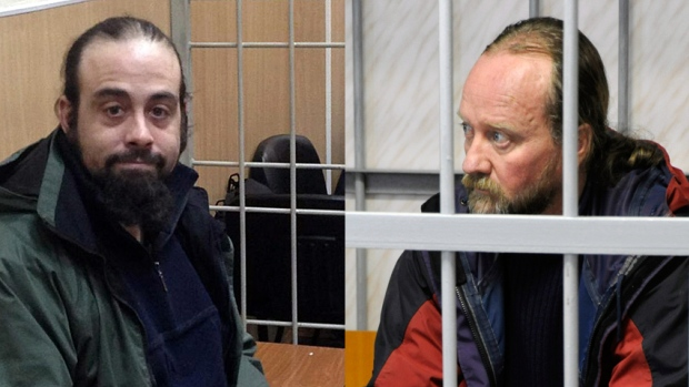 Alexandre Paul, 36, and Paul Ruzycki, 48, two crew from the Greepnpeace ship Arctic Sunrise have been imprisoned in Russia for two months, after Russian forces seized their ship in international waters. Greenpeace had been protesting oil drilling in the Arctic Ocean. (Greenpeace and Sergei Eshchenko/Reuters)