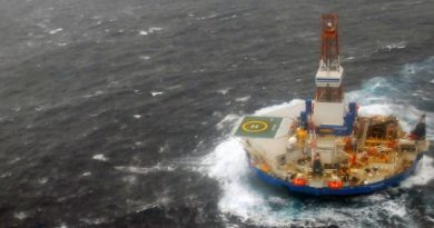 The Royal Dutch Shell drilling rig Kulluk aground off a small island near Kodiak Island Tuesday Jan. 1, 2013.(U.S. Coast Guard / AP)