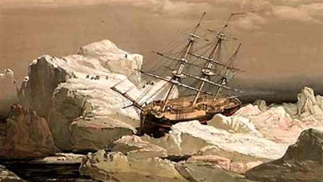 1851 painting of HMS Investigator trapped in ice, some 850 km north of the Arctic Circle (Samuel Gurney Cresswell)