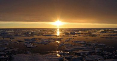The sun sets over the Canadian Arctic. (Jeremy Harbeck / AFP)