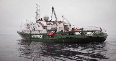 Greenpeace crew launch a two-seater submarine, on loan from the Waitt Insititute, to explore the Chukchi Sea floor near a proposed Shell drill site north of Point Hope, Alaska, in July 2012. (Greenpeace)