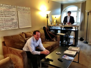 Adrian Herrera (seated) and Michael Shively, at Arctic Power's office in Washington, D.C. (APRN)
