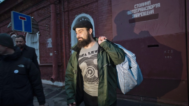 Greenpeace activist Alexandre Paul of Montreal was released from a St. Petersburg jail on Nov. 22, 2013 after being arrested Sept. 19 for protesting against drilling in the Arctic. (Pavel Golovkin/AP)