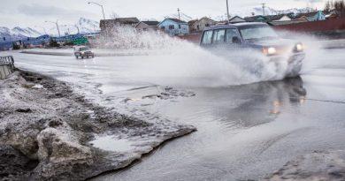 Freezing rain often leaves Anchorage motorists sliding off roadways. (Loren Holmes / Alaska Dispatch)