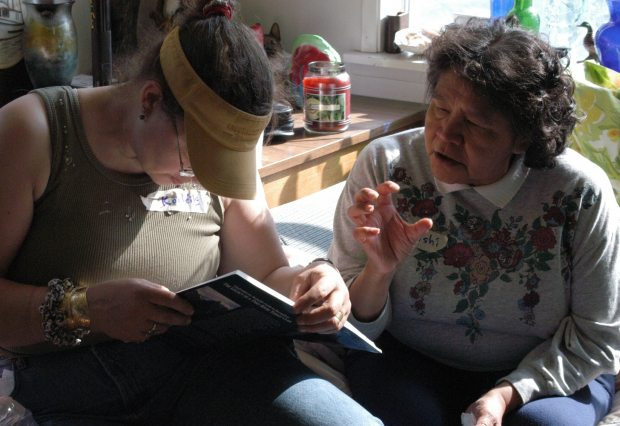 Language student Roby Littlefield with fluent Tlingit speaker Bessie Cooley at the Sealaska Heritage Institute's 2003 immersion camp in Sitka, Alaska. (Courtesy Sealaska Heritage Institute / Alaska Dispatch)