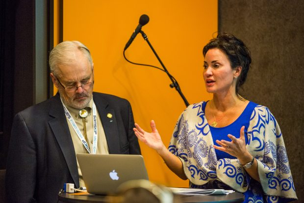 Rep. Bob Herron and Sen. Lesil McGuire at the Arctic Circle conference in Iceland in 2013. (Loren Holmes / Alaska Dispatch)