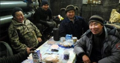 Russian journalist Bolot Bochkarev spent some time with Mikhail and his three sons, Danil, Djulustan and Pavel (from left to right), all truckers who travel the Kolyma all-weather road, and the seasonal ice roads that reach into the most remote parts of Siberia. (Bolot Bochkarev)