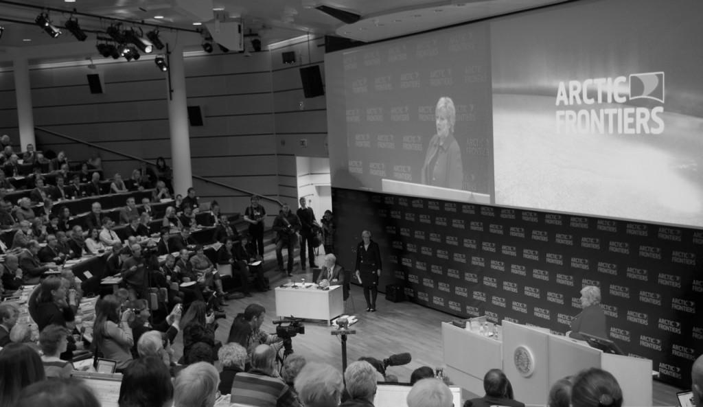 Norwegian Prime Minister Erna Solberg speaks at Arctic Frontiers. January 21, 2014. (Mia Bennett)