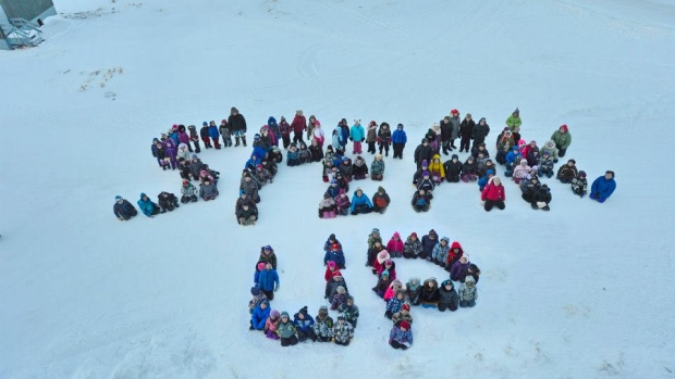 Children in Pangnirtung, Nunavut, send a message during an anti-bullying workshop in the community, as part of the Embrace Life Council's suicide prevention work in the territory. In 2013, 45 people took their lives in the worst year for suicide in the territory's history. (David Kilabuk)